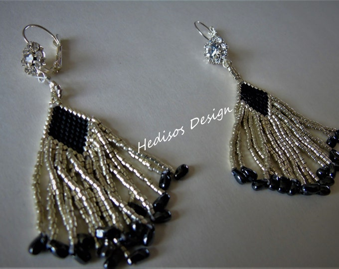 Earrings with # fringes and # flowers #glass cut stones # black-silver 6 cm