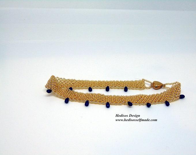Anklet # Footand #gold #dark blue 25 cm