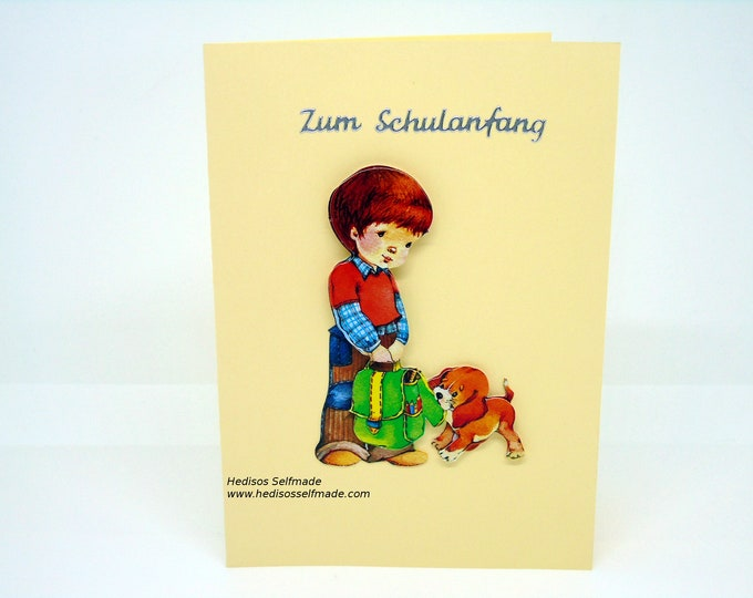 Congratulations card # school introduction # boy with dog # 3-D