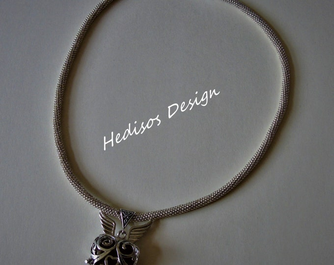 Silver #Silver chain with #Sky caller and inlaid #semi-precious stone # 52 dm