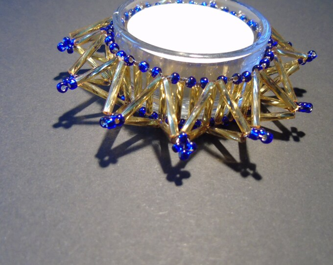Tealight holder #Christmas # gold-cobalt blue