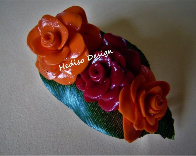extraordinary #hairclasp with #rose from #Fimo 8 cm