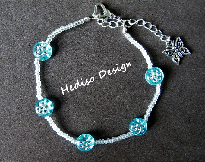 """Anklet """"Butterfly"""" # 20 cm # transparent-turquoise"""