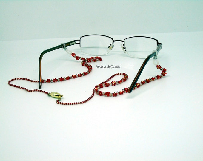"Glasses chain ""flowers"" with magnetic clasp red-gold"