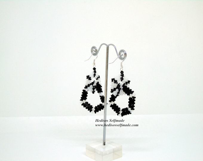 "Earrings ""hexagons"" # black-white # 7 cm"