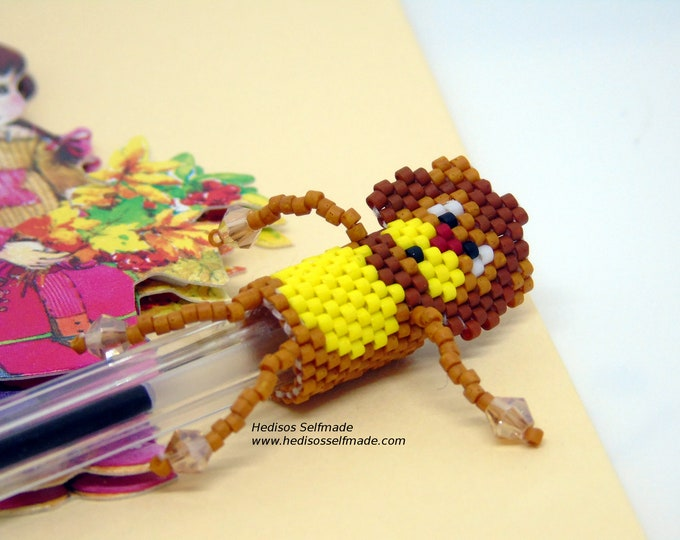 Pen Topper # pen attachment # lion # made of pearls 3 cm