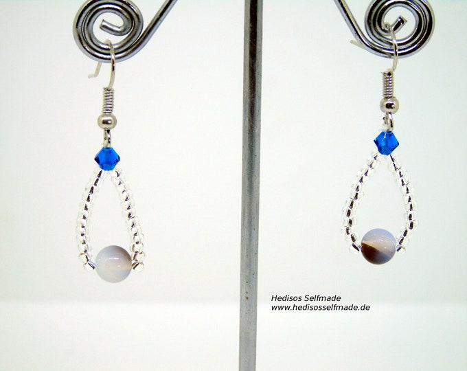Earrings # Earrings with Botswana agate and dark blue Swarovski 4 cm