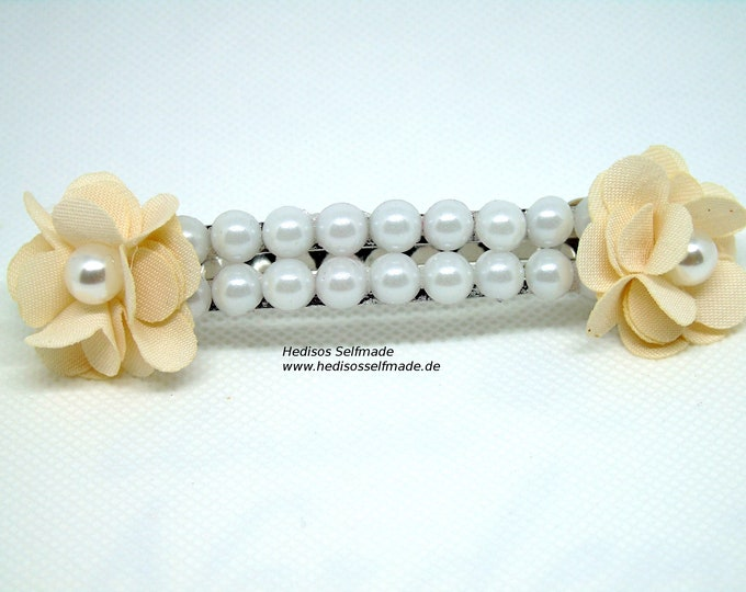 Hair clip # roses and #beads 8 cm