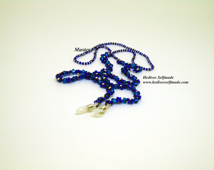 "Glasses chain ""Flowers"" 70 cm cobalt blue and silver"