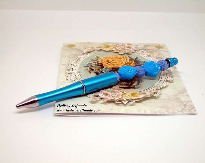 Ballpoint pen with #rose # blue with # exchangeable #Mine