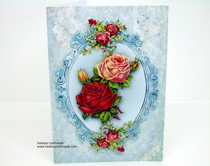 Birthday card #nostalgic roses # 3-D #Handwork