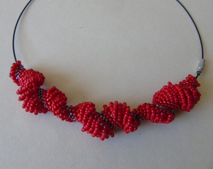Necklace # Dutch spiral #red # 45 cm