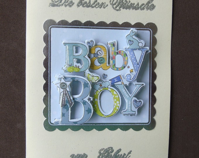 3-D-Greeting Card #birth #boy