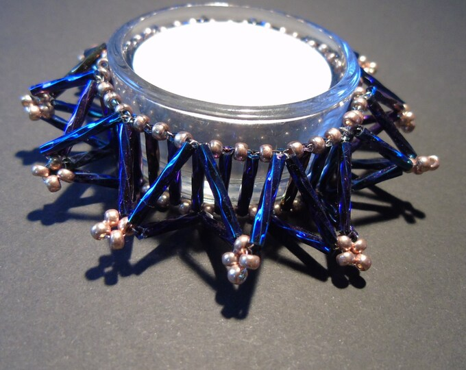 Tealight holder #Christmas # blue-silver