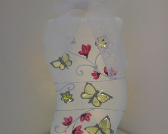 Unusual shaped lamp hand painted in white, with pink blossom & butterflies.