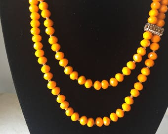 Two lines orange crystal beaded necklace with matching bracelet/earrings