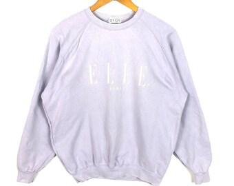 404511078ec1 Elle paris Sweatshirt Big Logo spell out Embroidery Sweat Medium Size  Jumper Pullover Jacket Sweater 90 s