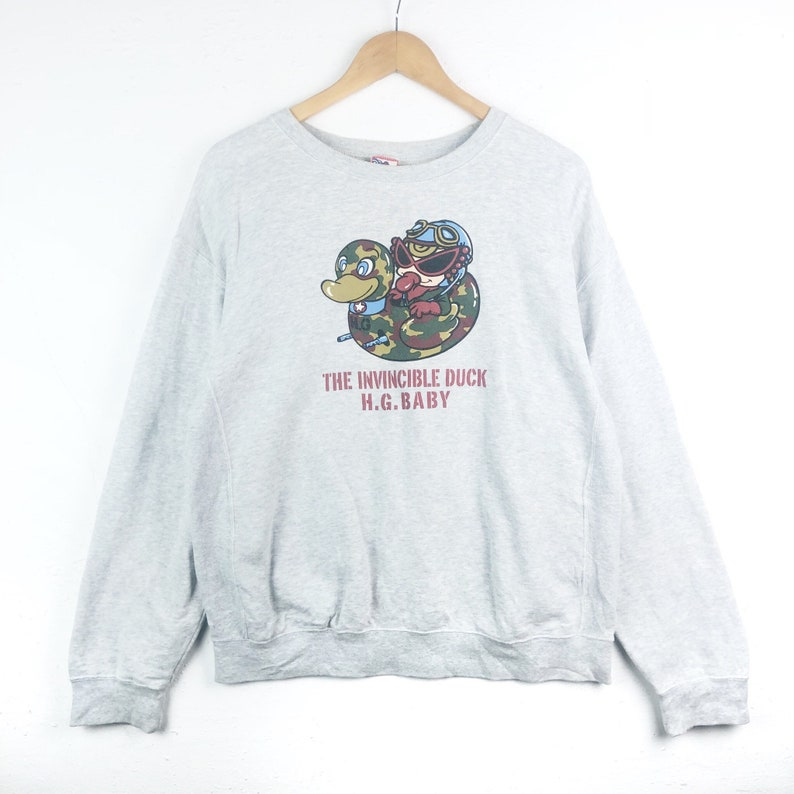 3dce4ba9219 The Invincible Duck Hysteric Glamour Sweatshirt Big Logo Spell Out Pull  Over Jumper Silver Colour