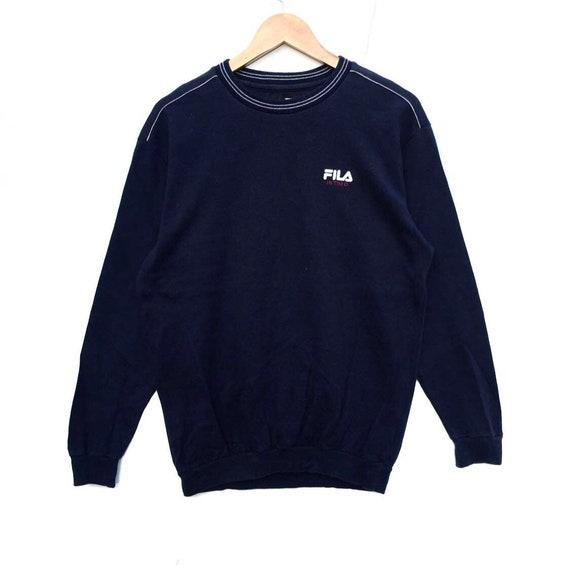 bba4597fff5e2 Fila Sweatshirt navy blue colour Big Logo Embroidery Sweat | Etsy