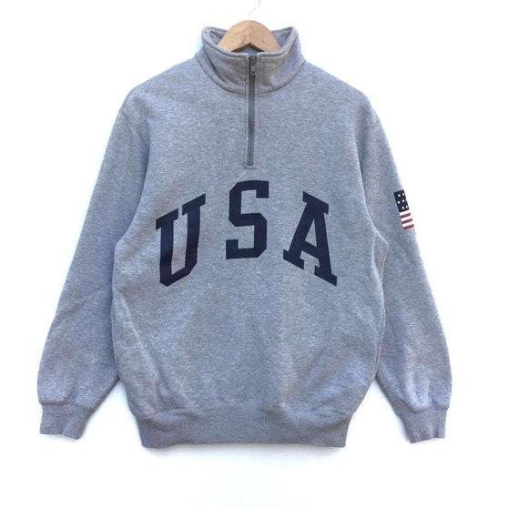 Polo Ralph Lauren Sweatshirt Half Zipper Big Logo Usa Polo Etsy