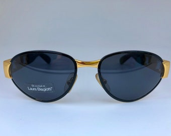 b77a8596b0 LAURA BIAGIOTTI vintage black   gold 90s sunglasses shades new old stock