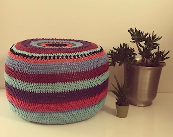 Crochet Pouf Cover and Inflatable Pouf