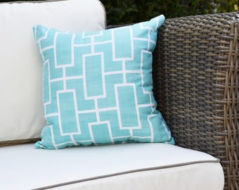 Screen Lattice 16 inch Blue Decorative Geometric Throw Outdoor Pillow