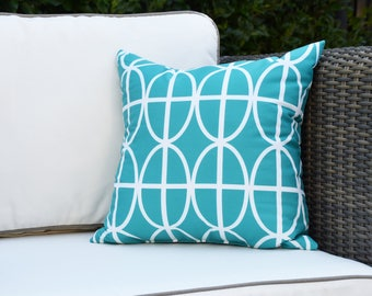 Ovals and Stripes 16 inch Blue Decorative Geometric Throw Outdoor Pillow