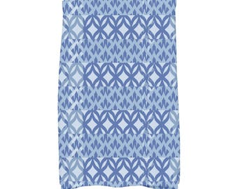 16 x 25 Inch, Greeko Simple, Geometric Print Kitchen/Hand Towel, Royal Blue
