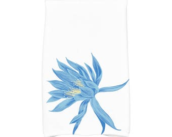 16 X 25 Inch, Hojaver, Floral Print Kitchen/Hand Towel, Royal Blue