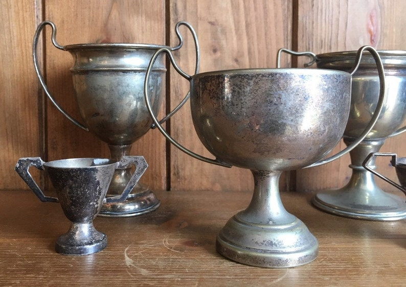sporting items medals trophy sports vintage collection of 5 silver plate sporting trophies NOT ENGRAVED trophies cups