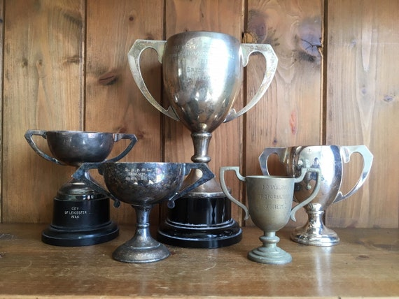 vintage collection of 5 silver plate sporting trophies, trophy, trophies,  sporting items, sports, cups, medals