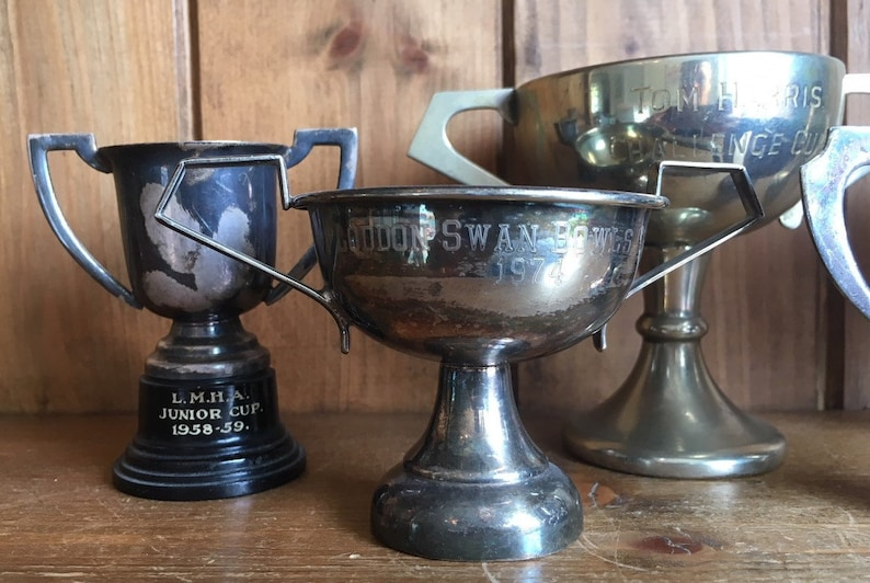 cups sporting items sports trophy medals vintage collection of 5 silver plate sporting trophies NOT ENGRAVED trophies