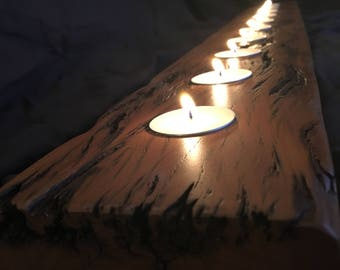 Reclaimed Wood Candle Holder Peroba Rosa Dining Table Center Piece Candleholder Teacandle Tea Rustic One Of A Kind