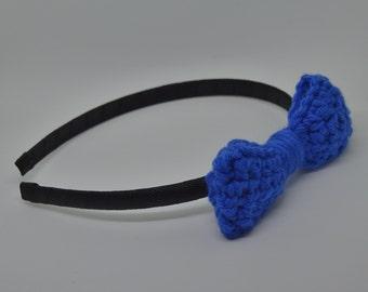 Crochet Bow Headband - Royal Blue - Ribbon Wrapped Headband - Medium Bow - Hair Accessory