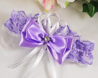 Bridal garter lilac Garter rhinestone heart Leg garter lace Bridal garter purple Garter toss lilac Garter for brides Garter purple Garters