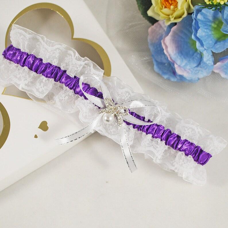 12dc94578bb Purple lace bridal garter Keepsake elegant wedding garter