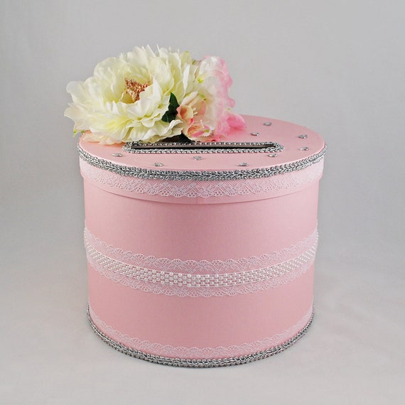 Pink Card Box With Flowers For Wedding Envelope Box Wedding Etsy