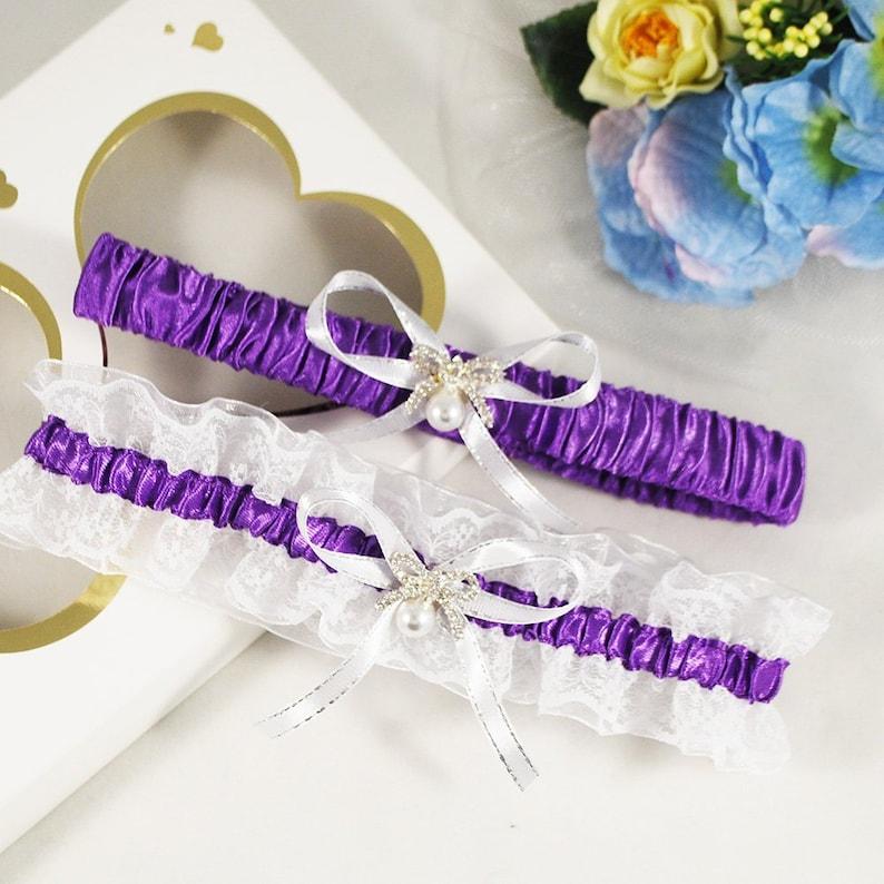 cf4c9201d Purple bridal garter set Wedding garter belt Lingerie and