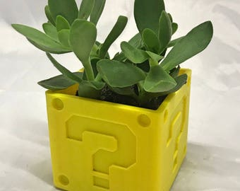 Mystery Box Planter | Question Mark Block | Prize Block | Flower Pot