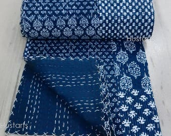 Twin Reversible Indigo Kantha Quilt Throw Handmade bedspread Indian Vintage Bohemian Gudri blanket Patchwork Coverlet