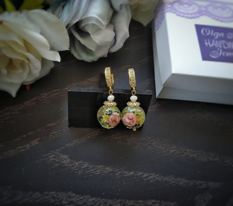 Personalized Gifts for Women Gold Vintage Japanese Tensha Bead Earrings bridesmaid gift unique gifts for her Mother/'s gift graduation gift