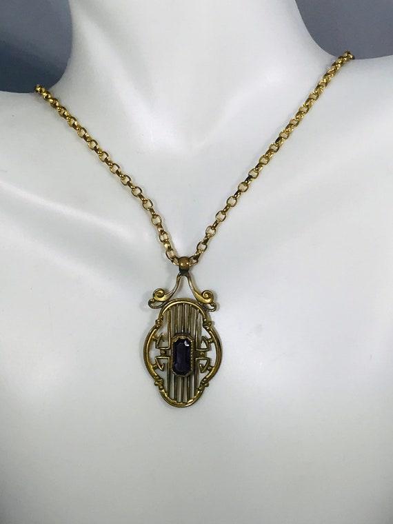 Art Nouveau Amethyst Necklace, Art Nouveau neckla… - image 5