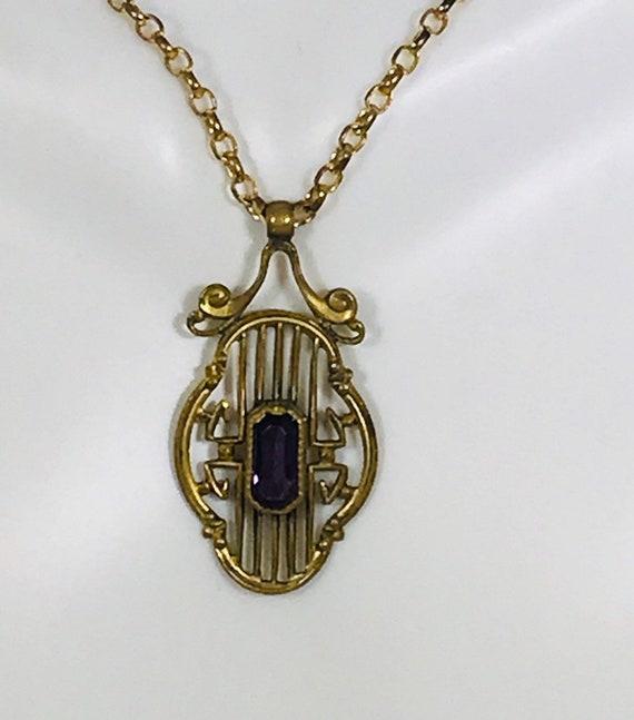 Art Nouveau Amethyst Necklace, Art Nouveau neckla… - image 1