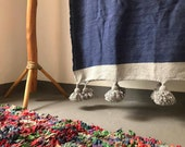 Blue cotton blanket pom pom throw blanket,bed spread,coverbed,bohemain decor,cotton blanket,handmade, blue gray cotton blanket
