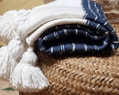 Moroccan pom pom blankets with tassels throw blankets, striped blankets,cover bed, cotton blankets,handmade blanket,white and blue blanket