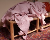 Moroccan pom pom blankets,baby pink throw blankets, coverbed, cotton blankets,handmade blanket, baby pink blanket