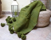 FREE SHIPPING Moroccan throw blanket,pom pom green blankets,bed spread,wool moroccan bedding,pom pom throw blanket,berber moroccan