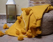 Moroccan blanket,pom pom yellow blankets,bed spread,moroccan throw blanket,wool moroccan bedding,pom pom throw blanket,berber moroccan decor
