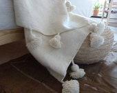 FREE SHIPPING moroccan pom pom blankets, throw blankets, coverbed, wool blankets,handmade blanket, white blanket